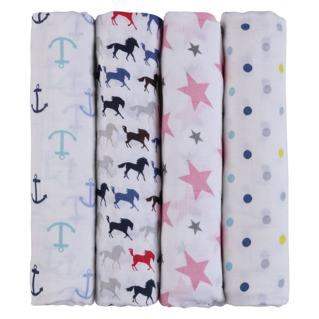 Blue Horse Collection 100% Cotton Muslin Swaddle Pack Of  4 (Anchor, Pink, Horse, Dots) - haus & kinder