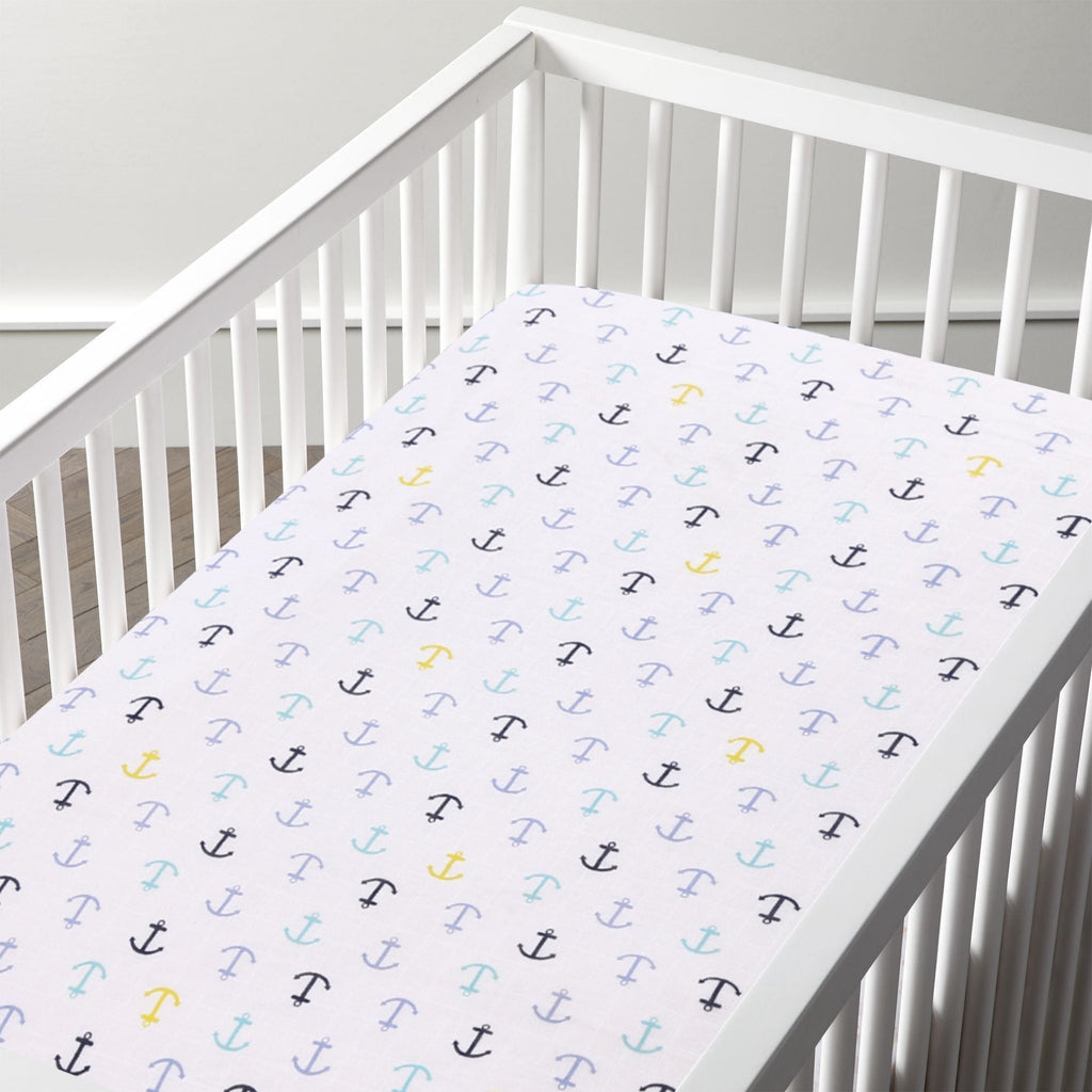 Muslin 100% Cotton Fitted Crib / Cradle Sheet For Babies Unisex (Anchor) - haus & kinder