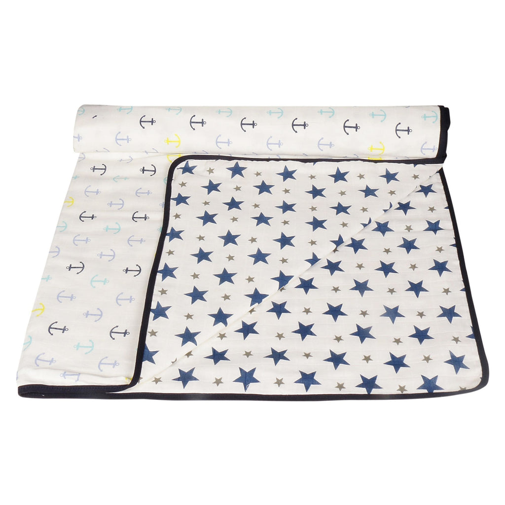Muslin 100% Cotton Baby Dream Blanket For New Born (Navy, Anchor) - haus & kinder