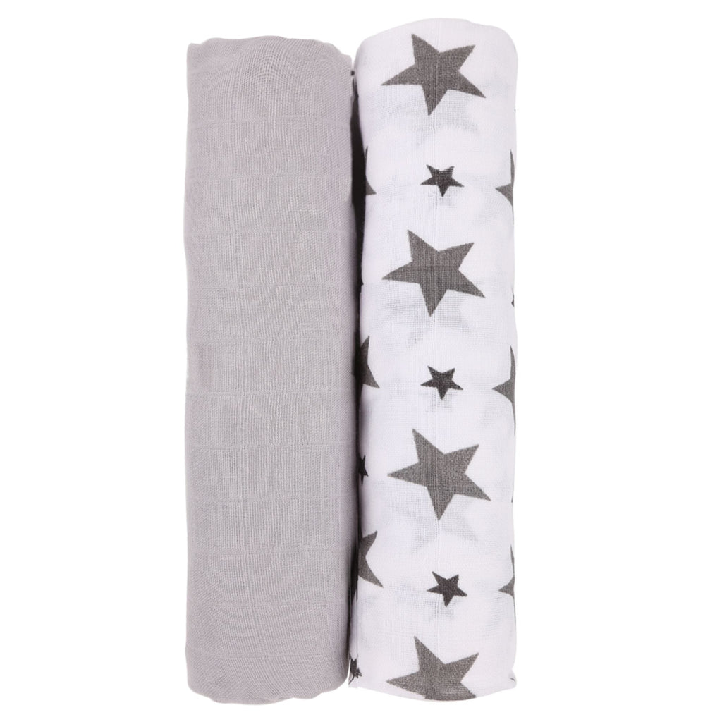 Monochrome Collection 100% Cotton Muslin Swaddle Pack of 2 (Grey, Star Grey) - haus & kinder