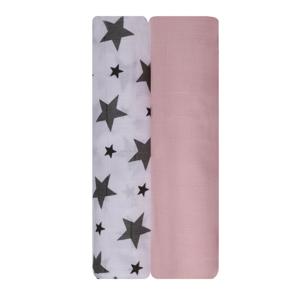 Think Pink Collection 100% Cotton Muslin Swaddle Pack Of 2 (Pink Plain, Grey) - haus & kinder