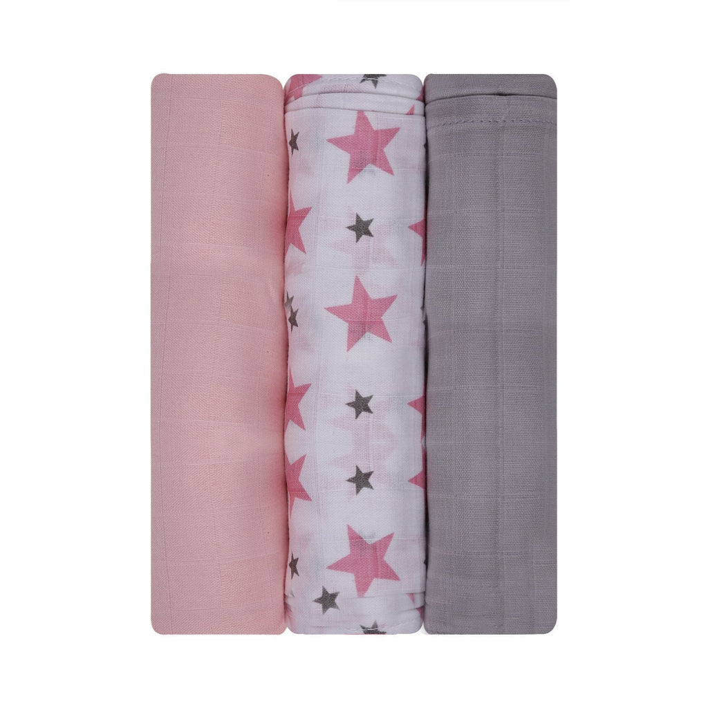 Twinkle Collection 100% Cotton Muslin Swaddle Pack Of 3 (Pink, Pink Plain, Grey) - haus & kinder