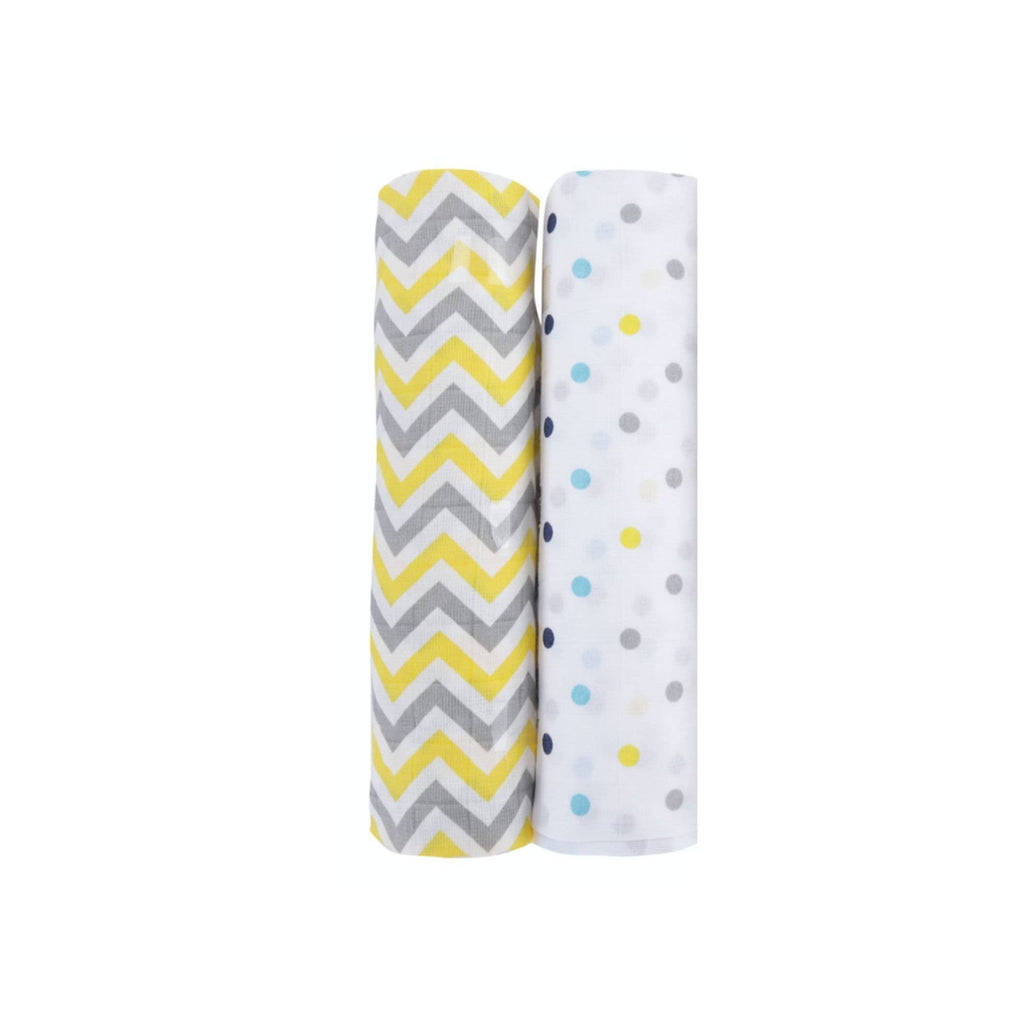 Chevron Stripes 100% Cotton Muslin Swaddle Pack Of 2 (Yellow, Dots) - haus & kinder