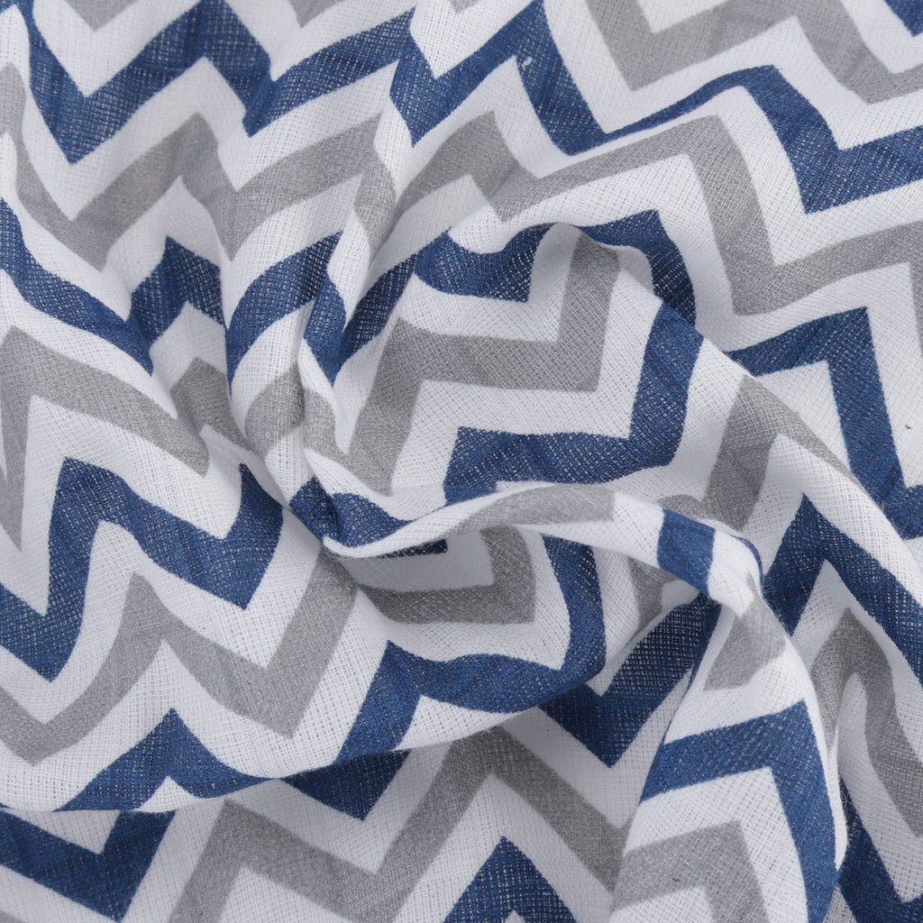 Chevron Stripes 100% Cotton Muslin Swaddle Pack Of 3 (Star Navy, Horse, Navy) - haus & kinder