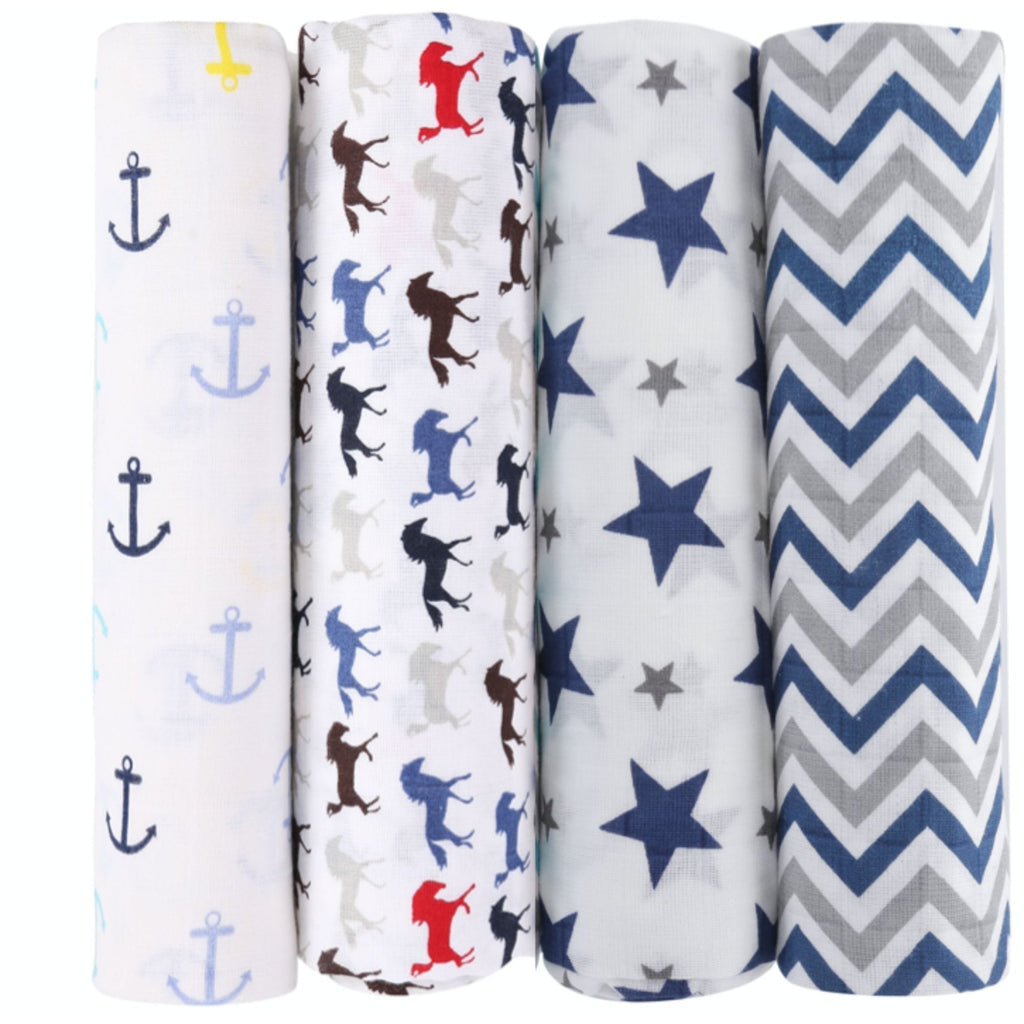 Chevron Stripes 100% Cotton Muslin Swaddle Pack Of 4 (Anchor, Horse, Star Navy, Navy) - haus & kinder