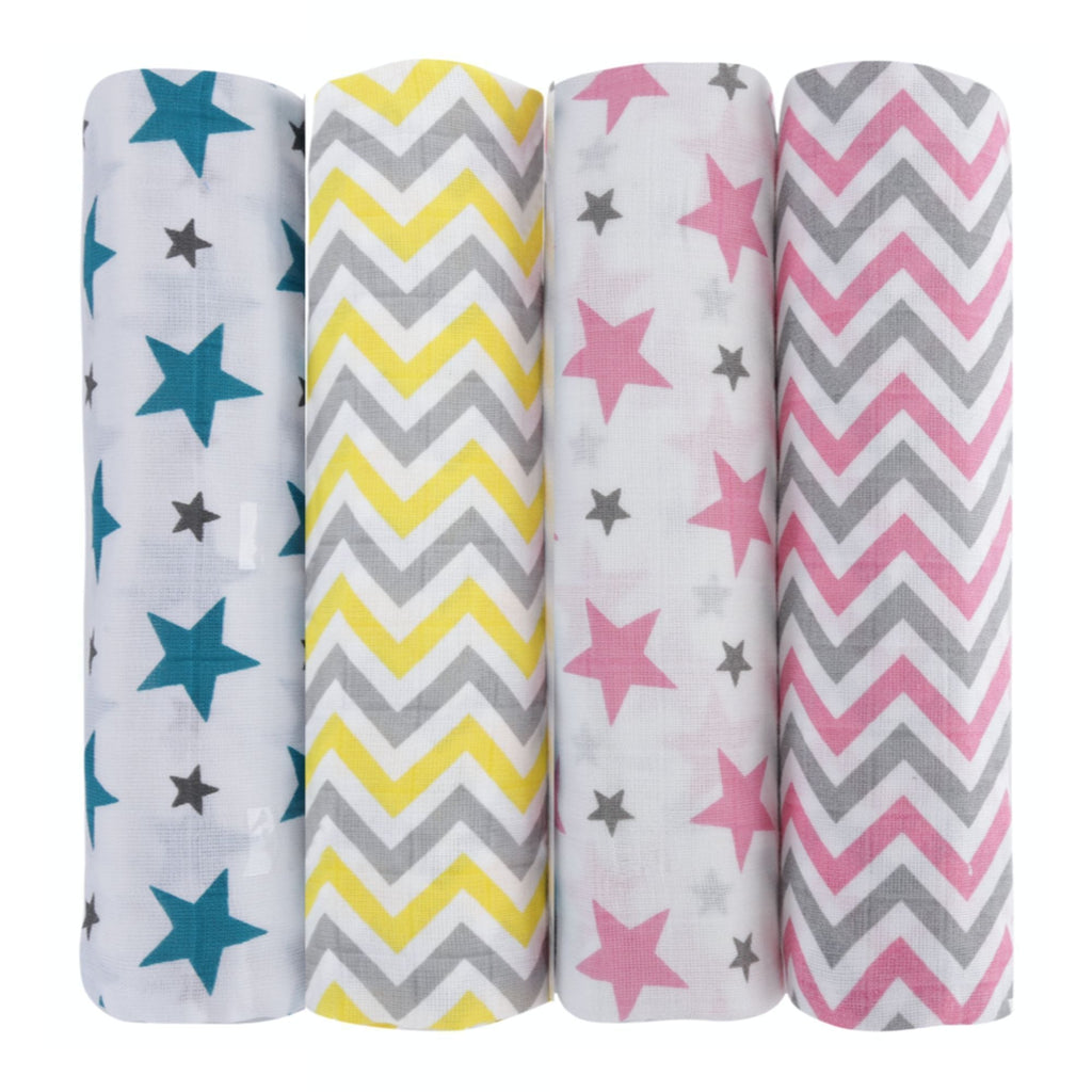 Chevron Stripes 100% Cotton Muslin Swaddle Pack Of 4 (Star Turquoise, Yellow, Star Pink, Pink) - haus & kinder