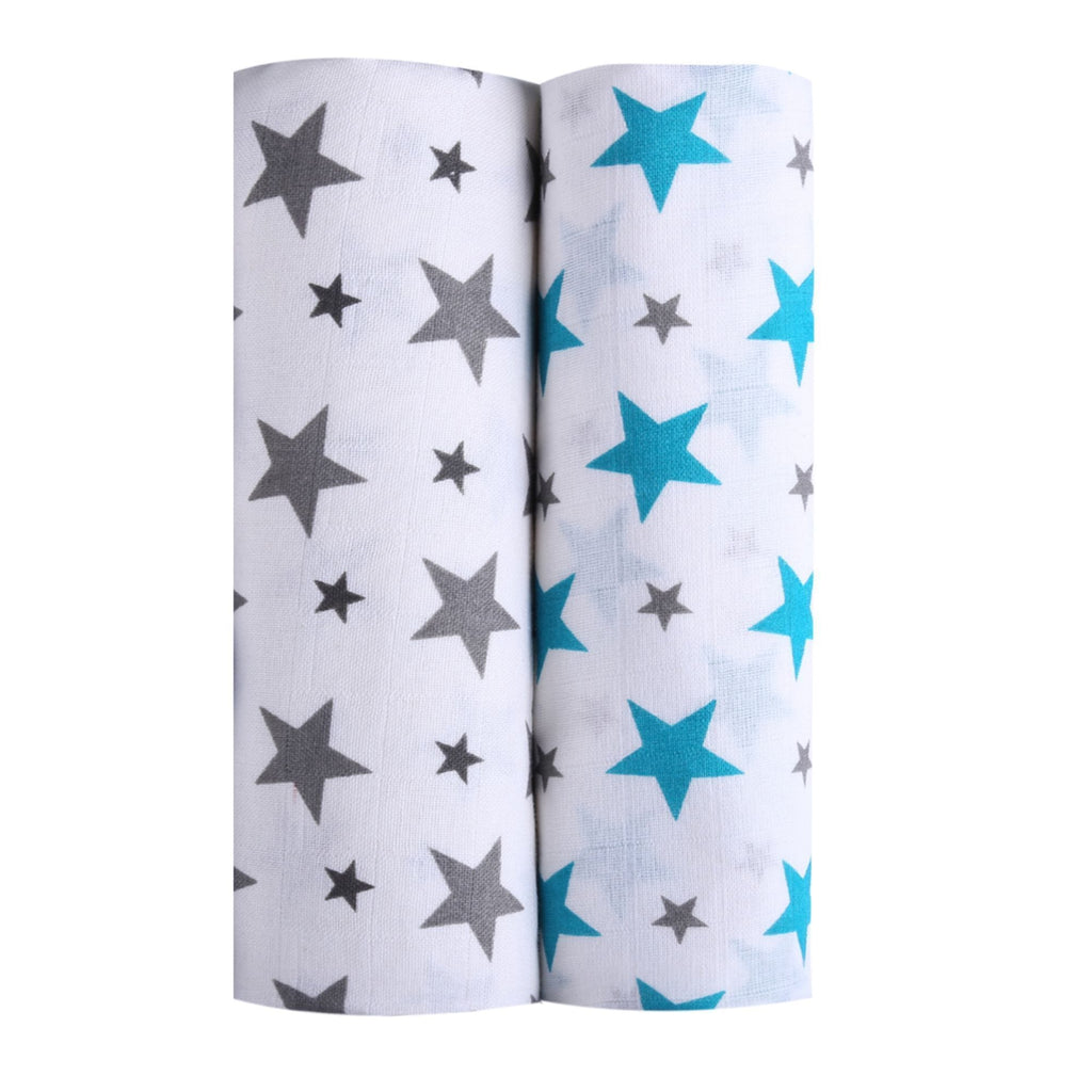 Twinkle Collection 100% Cotton Muslin Swaddle Pack Of 2 (Grey, Turquoise) - haus & kinder