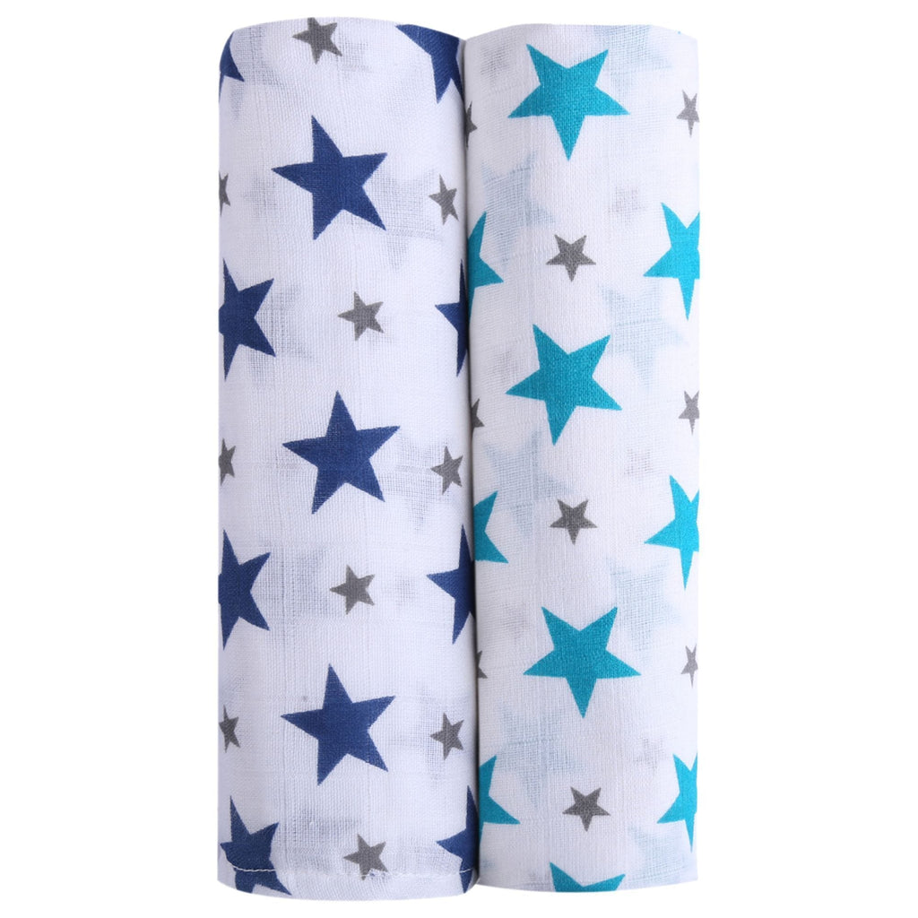 Twinkle Collection 100% Cotton Muslin Swaddle Pack Of 2 (Turquoise, Navy) - haus & kinder