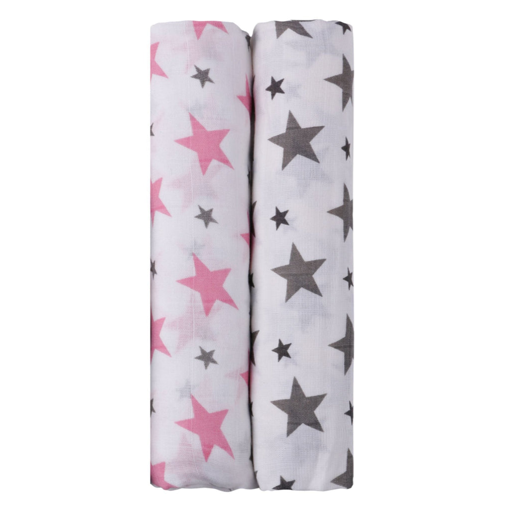 Think Pink Collection 100% Cotton Muslin Swaddle Pack Of 2 (Pink, Grey) - haus & kinder