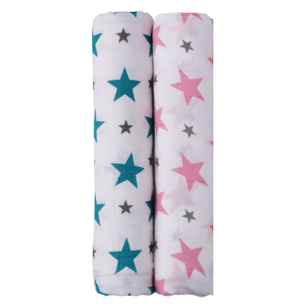 Think Pink Collection 100% Cotton Muslin Swaddle Pack Of 2 (Pink, Turquoise) - haus & kinder