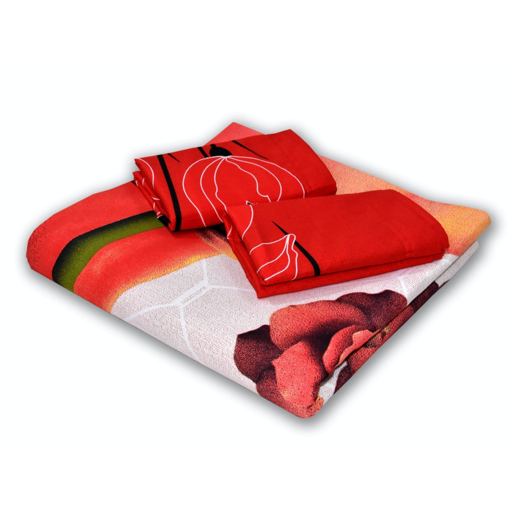 Valentines Day Romance Limited Edition 100% Cotton Satin Bedsheet King Size With 2 Pillow Covers 210 TC - haus & kinder