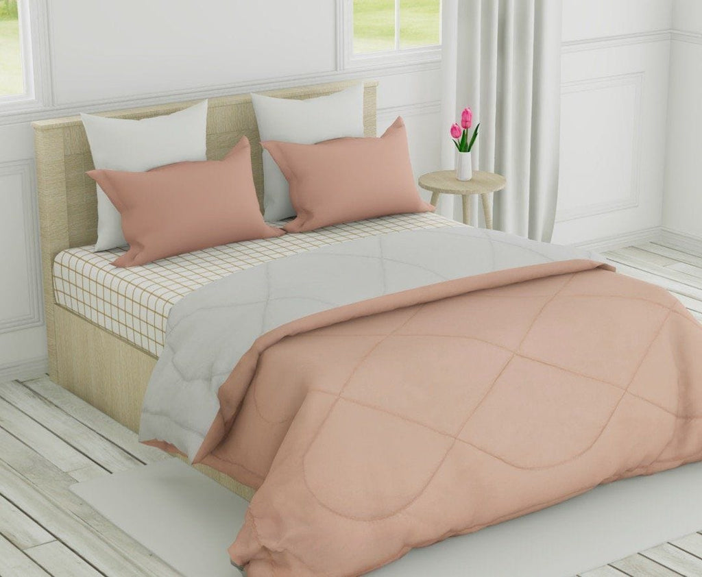 Microfibre Reversible Comforter Double Bed Size, Blush & Light Grey - haus & kinder
