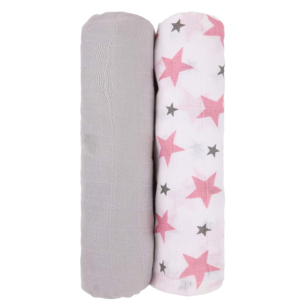Monochrome Collection 100% Cotton Muslin Swaddle Pack of 2 (Grey, Star Pink) - haus & kinder