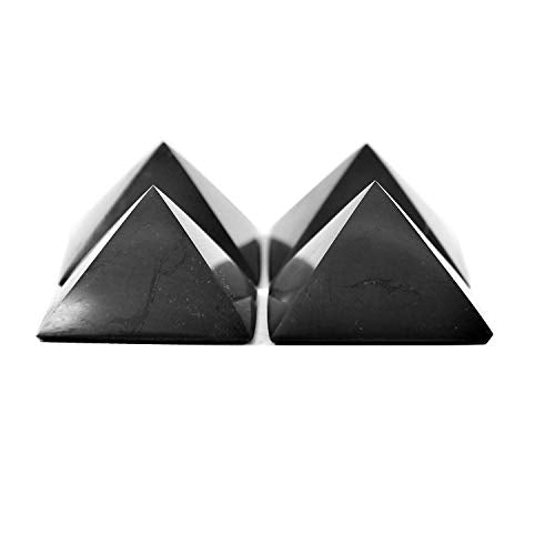 True Shungite 4 Polished Shungite Pyramids for EMF Protection at The Price of 3 (with a Shungite EMF Protection Sticker for Your Mobile Phone Included As A Free Gift!)