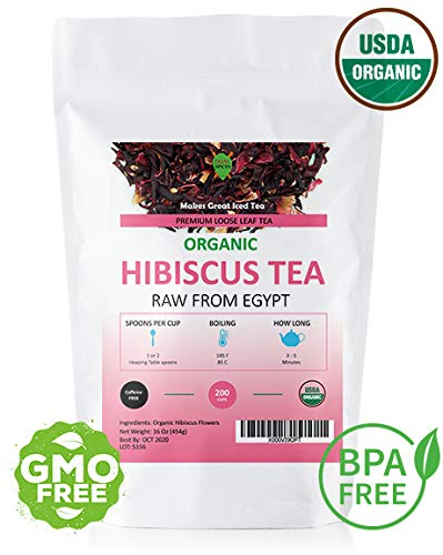 Dualspices Hibiscus TEA - 100% CERTIFIED Organic Hibiscus Flowers Tea 1 Pound, (Whole Petals) Helps Lower Blood Pressure, Makes Iced Tea Caffeine Free