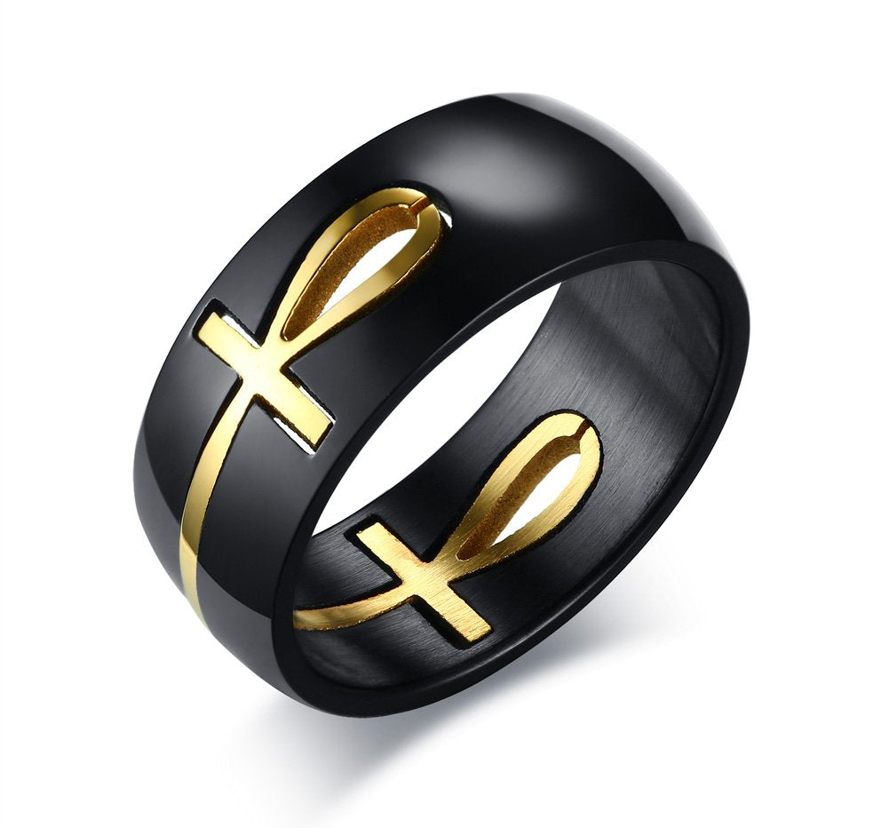 PJ Jewelry Black&Gold Plated Stainless Steel Egyptian Key of Life Ankh Cross Puzzle Ring for Men,Removable