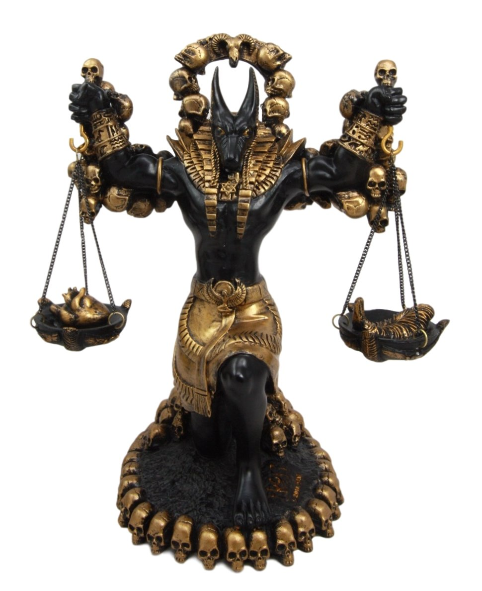 Ebros Ancient Egyptian God Anubis Statue by Ankh Altar Weighing The Heart  Against Ostrich Feather Figurine 9