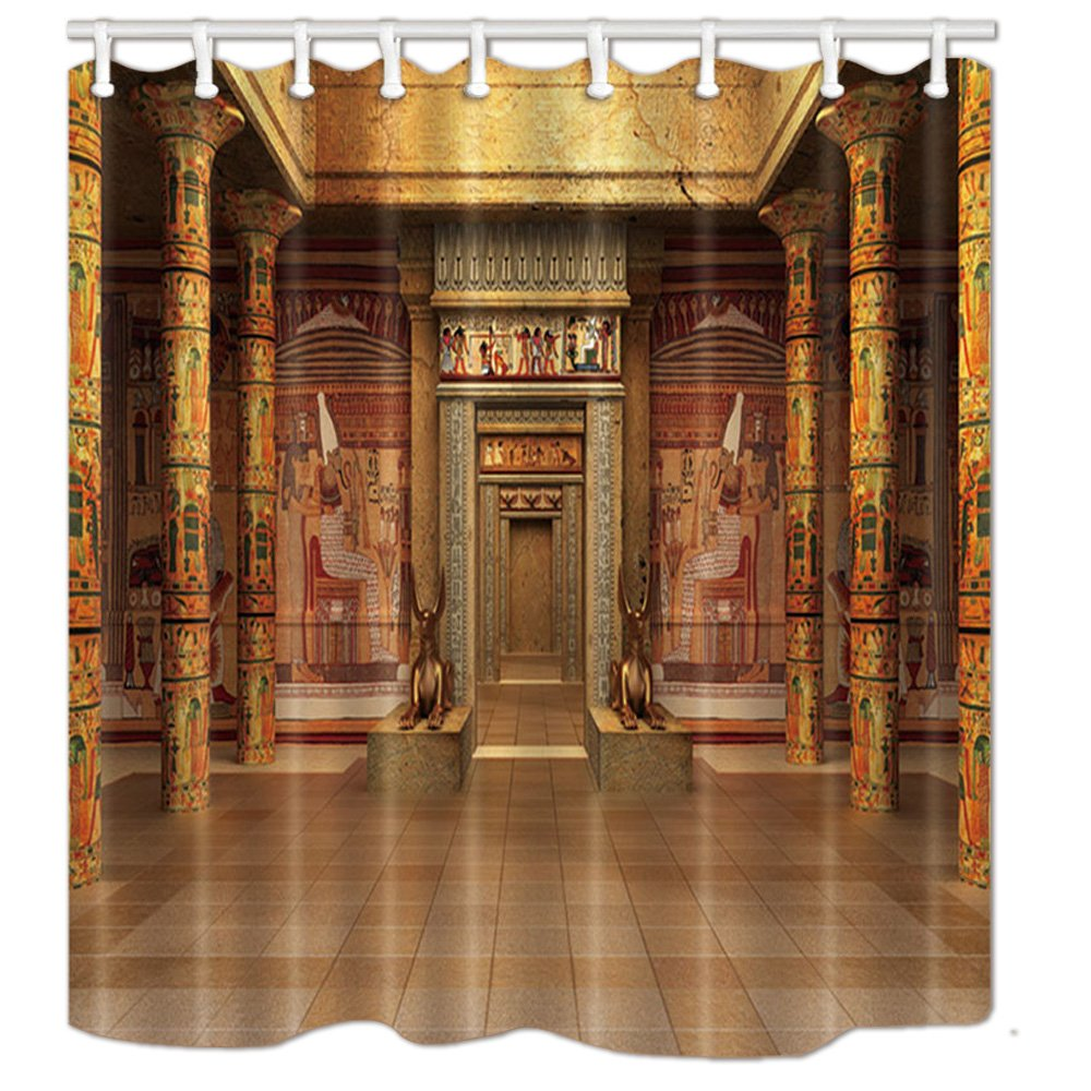 NYMB Egyptians Shower Curtains, Tombs with Egyptian Mural on The Wall in Vintage, Polyester Fabric Waterproof Bathroom Ancient Egypt Bath Curtain, Shower Curtain Hooks Included, 69X70in