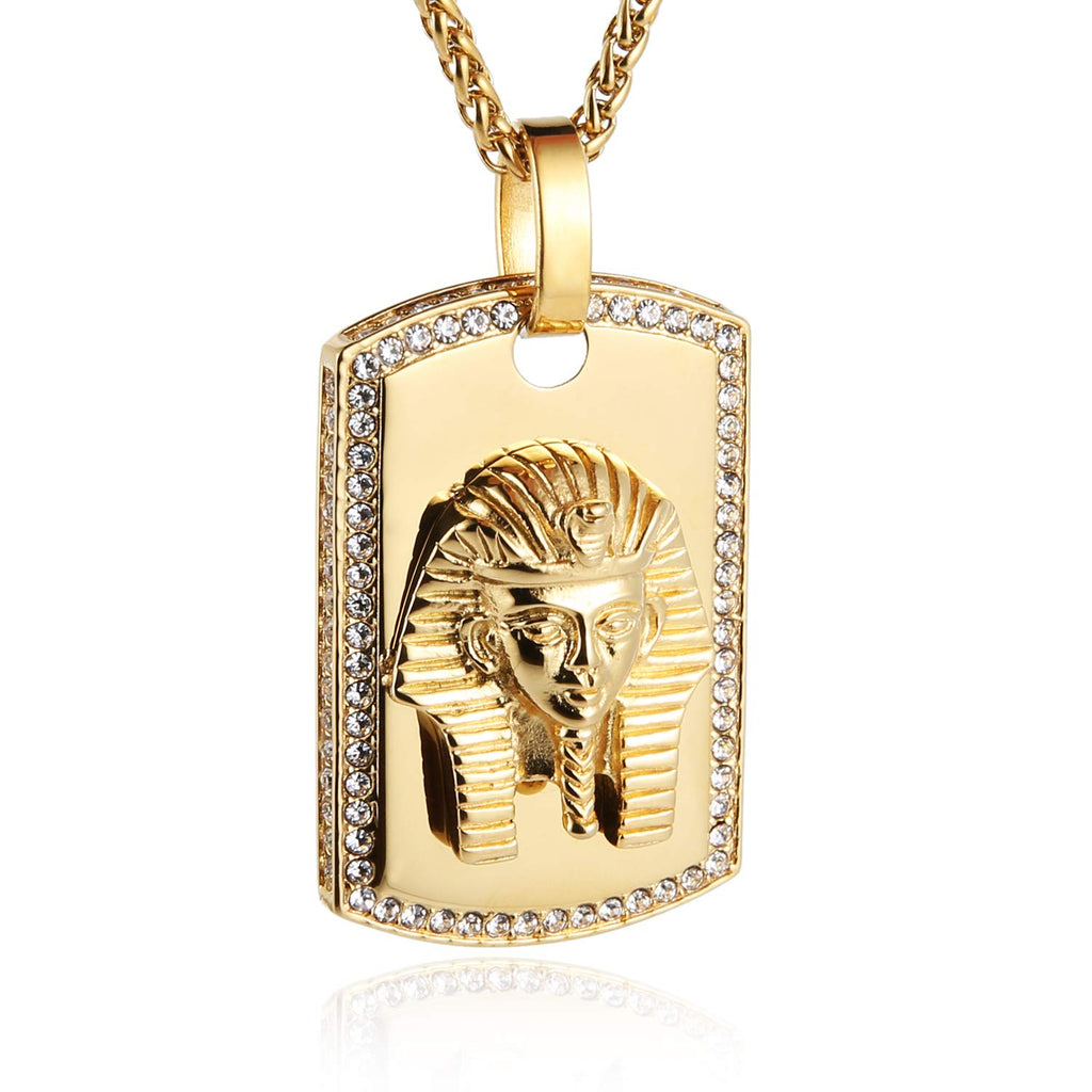 HZMAN Gold Plated Egyptian Pharaoh King Stainless Steel CZ Dog Tag Pendant Necklace African Jewelry