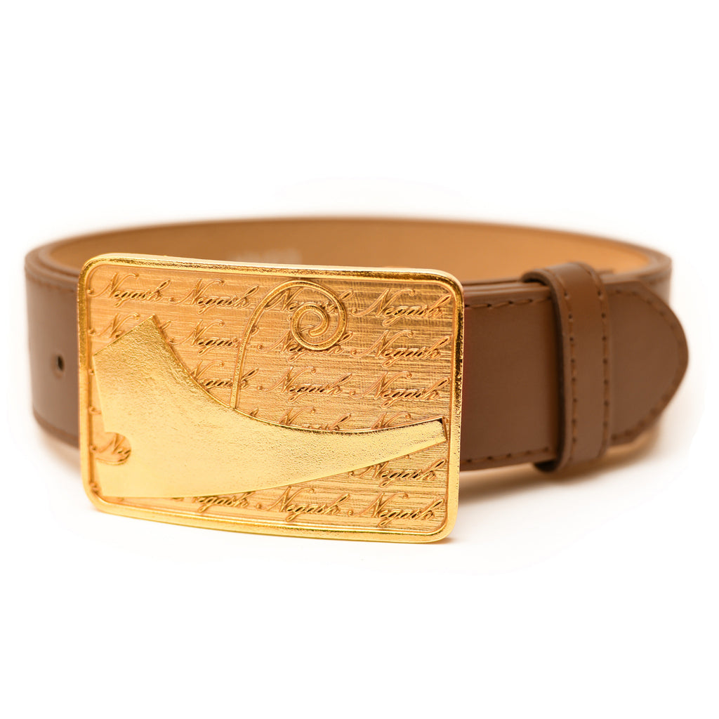 NegashNYC ™ Gold Signature Brown Belt LMTD - Negash Apparel & Footwear - 2
