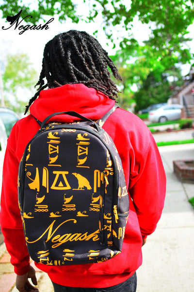 Negash ™ Gold  (Signature) Hieroglyphic Back-Pack - Negash Apparel & Footwear - 3