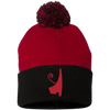 Red Crown Pom Pom Knit Cap