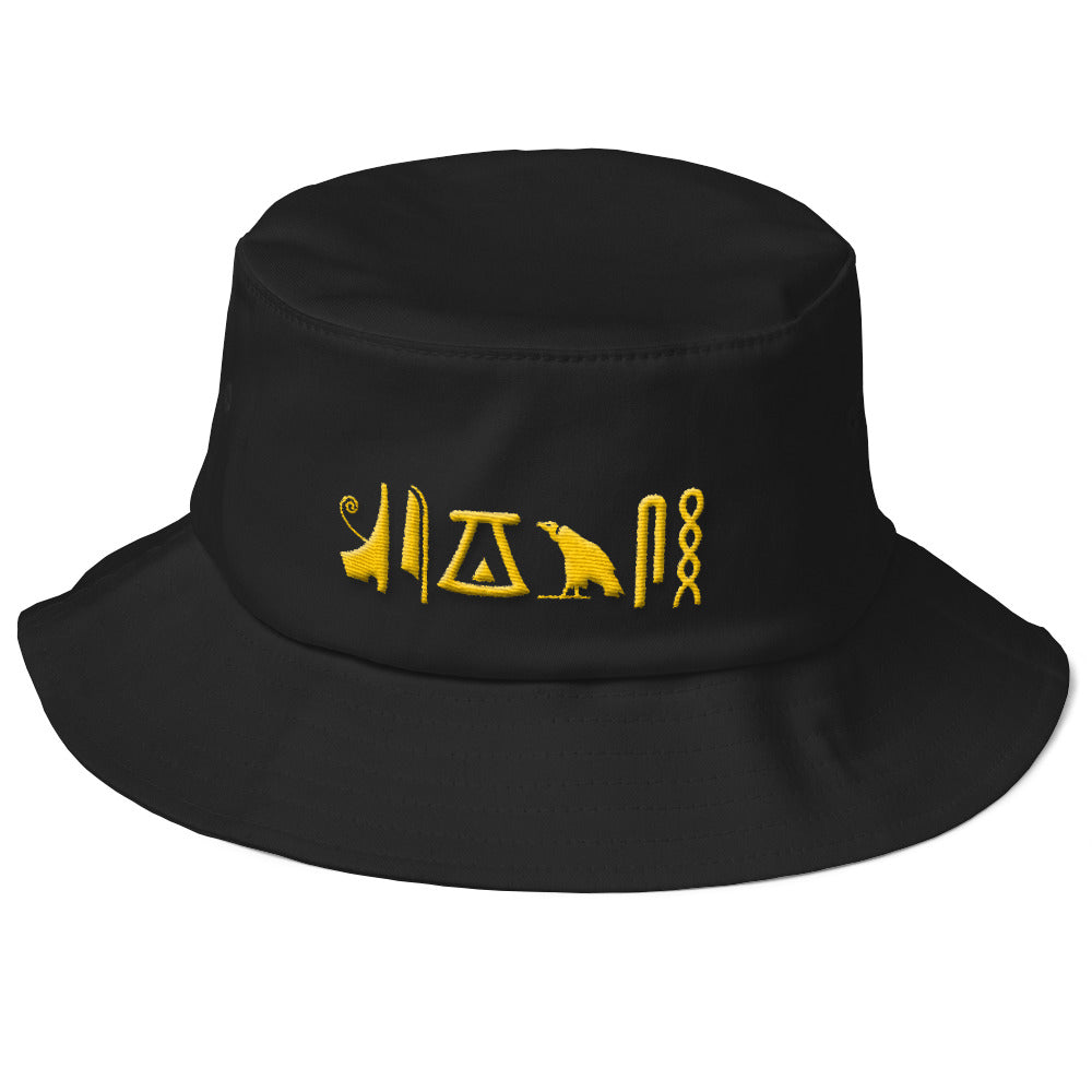 Negash ™ Gold Hieroglyphic Old School Bucket Hat