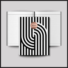 Load image into Gallery viewer, Stylish Boss Black + White Striped Notebook