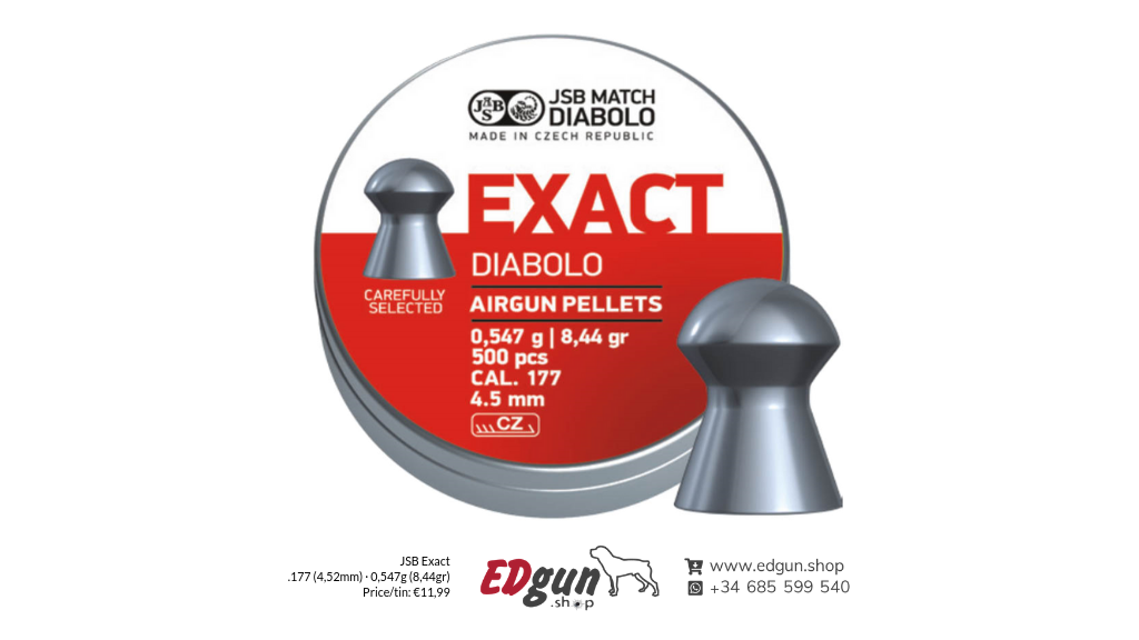 JSB Exact Pellets <br>Caliber .177 (4,52mm) · Weight 0,55g (8,44gr)