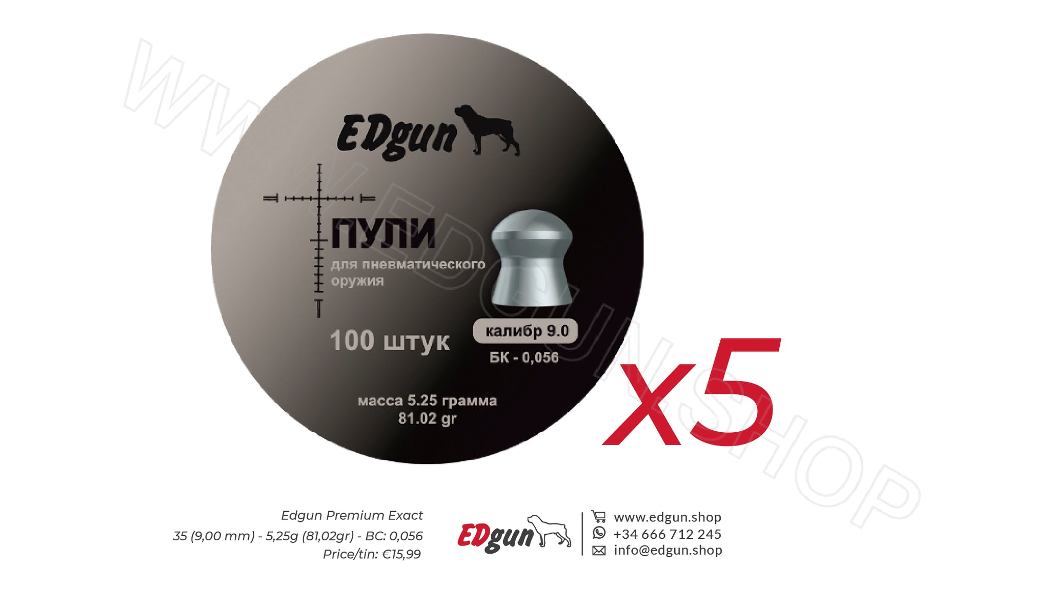 EDgun Premium Exact Pellets<br> Caliber .35 (9,0 mm) · Weight 5,25g (81,02gr)