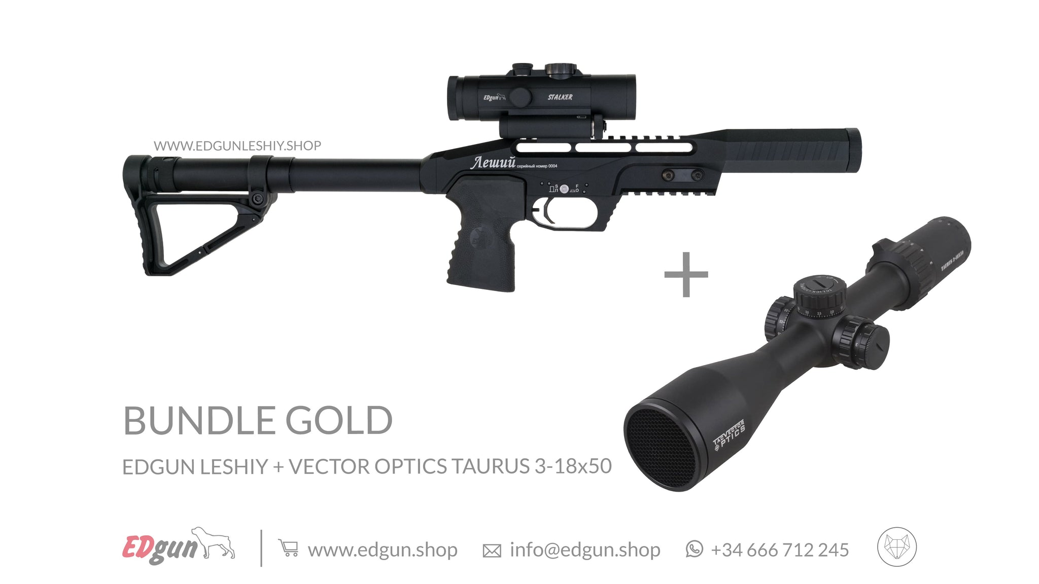 KIT · BUNDLE GOLD: <br> Edgun Leshiy Black + Vector Optics Taurus 3-18x50 FFP