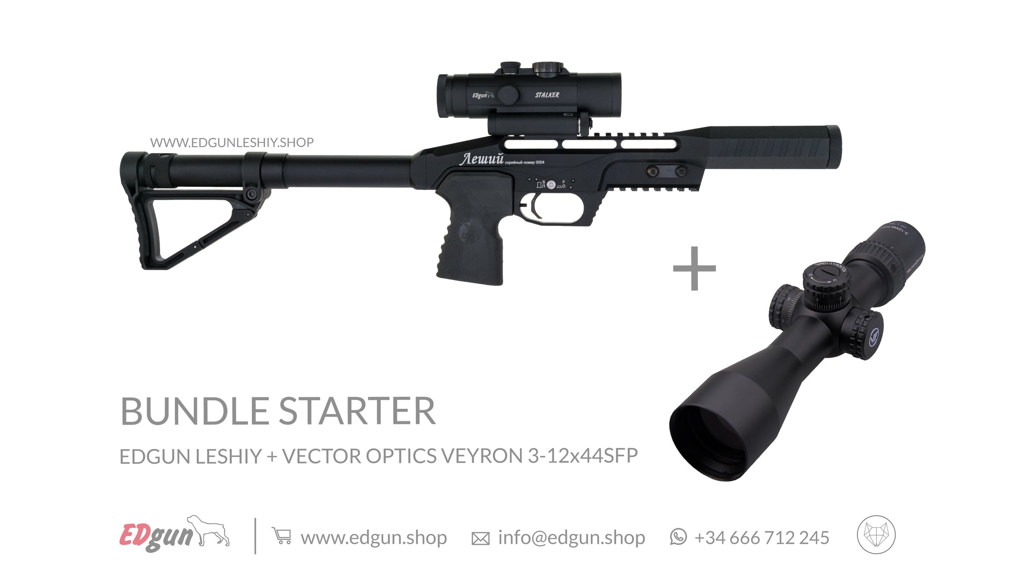 KIT · BUNDLE STARTER: <br> Edgun Leshiy Black + Vector Optics Veyron 3-12x44 SFP