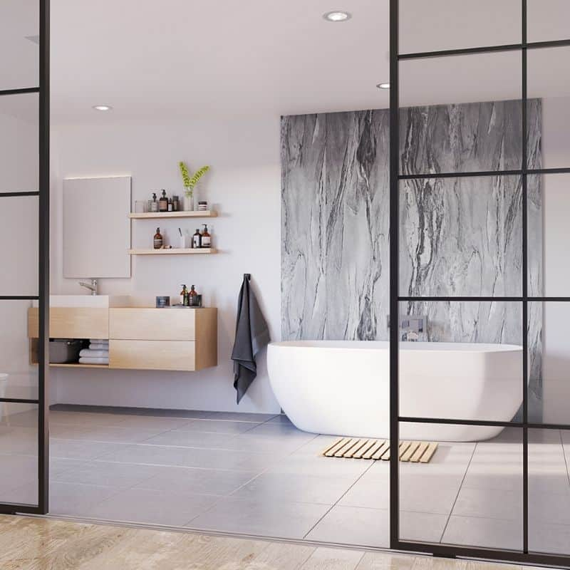 Grey Volterra Gloss-ShowerWall-Decor Walls & Flooring