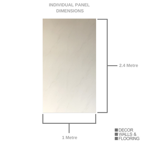 Large Subtle White Carrara Marble Shower Panel 1.0m x 2.4m