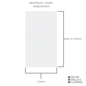 Large Premium London White Tile Shower Panel 1.0m x 2.4m