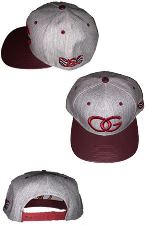 138 OG Grey/Maroon Leather Brim Snapback