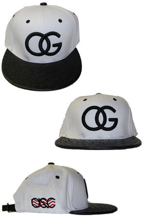130 White/Black Croc Bill Strapback