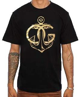 566 Gold OG Anchor Black Tee