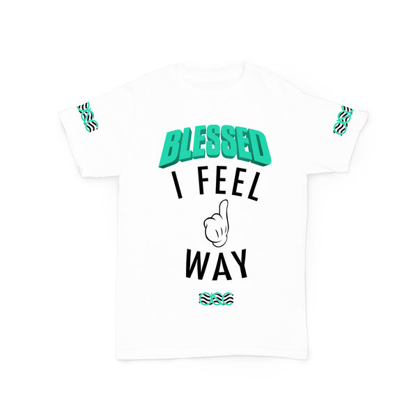 571 Way Up I Feel Blessed White/ Teal Tee
