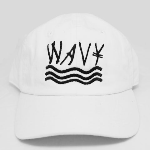 150 White Wavy Cotton Wash Strapback (Polo Style)