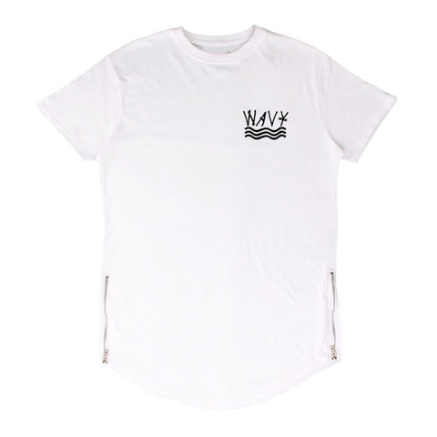 575 White Wavy Scoop Tee w/ Zipper