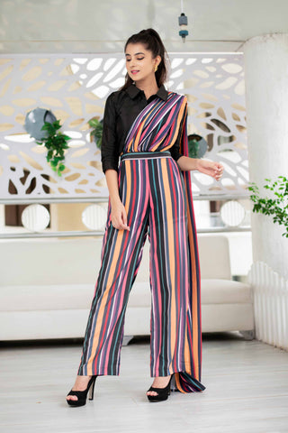 Striped indo western pant and saree set