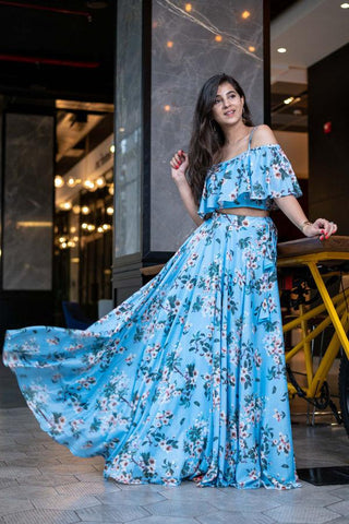 Light blue indo western crop top and skirt