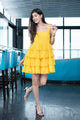Yellow Ruffle Short Dress