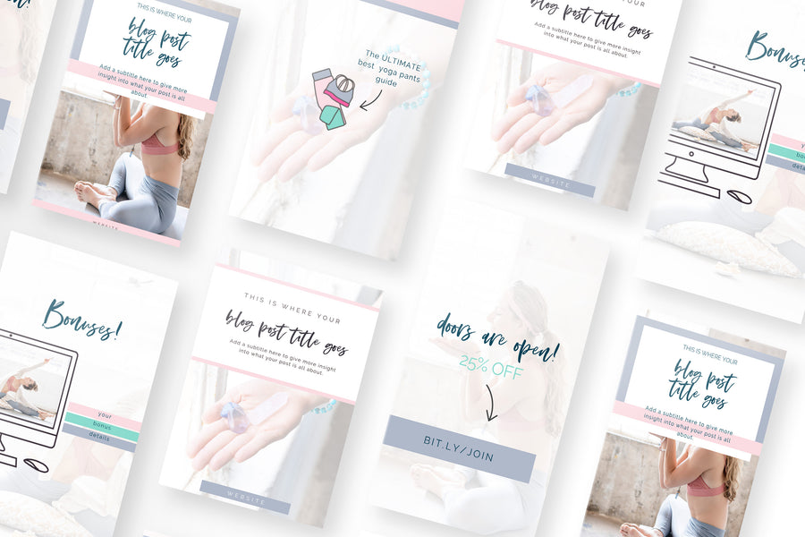 Happy Yogi Canva Template Bundle of 30