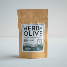 Load image into Gallery viewer, herb and olive oil 600mg 20mg gel capsules