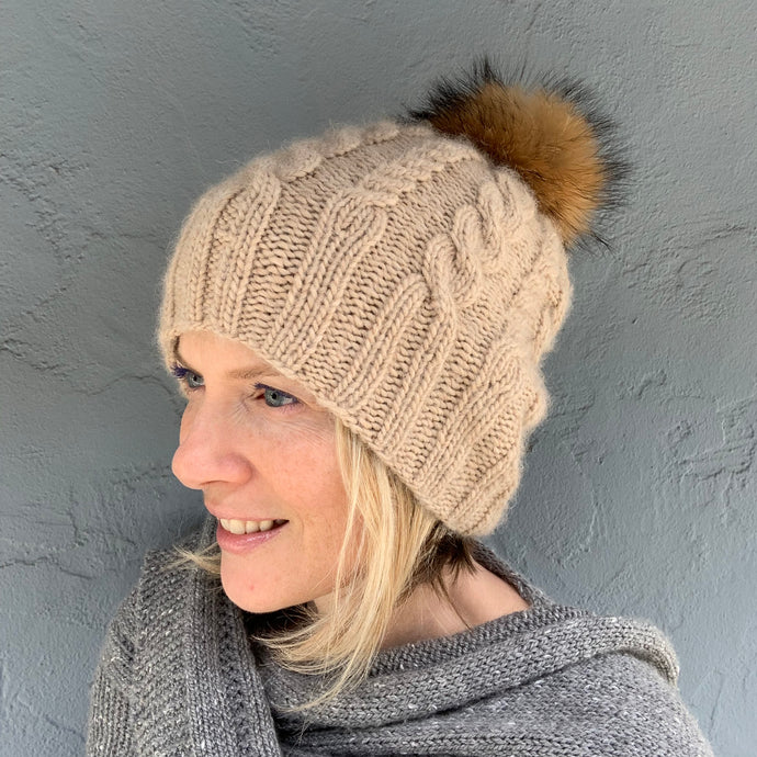 Cabled Tall Hat with Pompom Atelier Knitting Kit (#253)