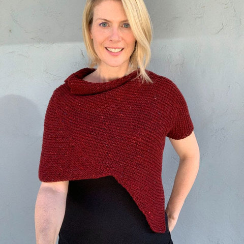 photo of woman in red knit wrap