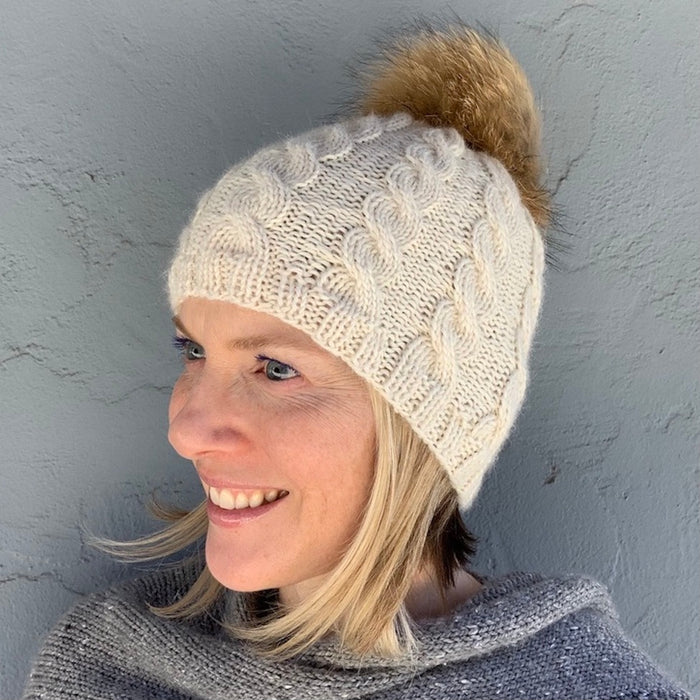 Basic Cabled Hat (worsted version) Knitting Kit | Cascade Pure Alpaca & Knitting Pattern (#98A)