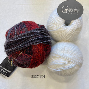 Linen Stitch Cowl (Cardiff & Zauberball version) Knitting Kit | Cardiff Small Cashmere, Zauberball Crazy & Knitting Pattern (#228)